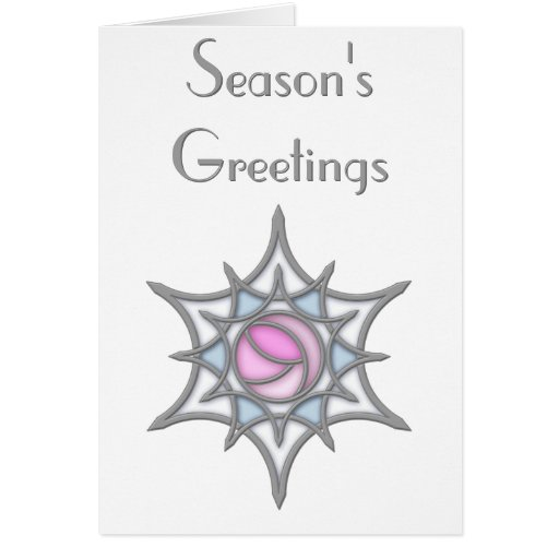 Geometric Art Nouveau Rose within a Snowflake Greeting Cards