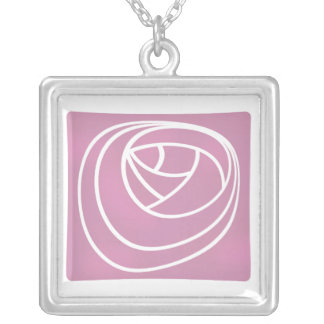 Geometric Art Nouveau Stylised Rose 'Stencil' Silver Plated Necklace