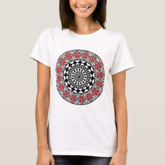 Geometric art t shirt red/black/white design