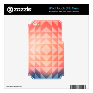 Geometric Art Triangles Fractals Blue and Orange iPod Touch 4G Skins