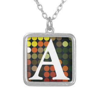 Geometric Art Yellow, Orange, Green Circles Square Pendant Necklace