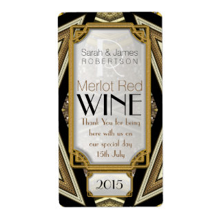 geometric+ArtDeco+Steampunk Wine Bottle Labels