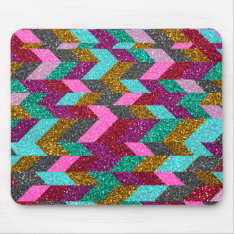 Geometric Aztec Girly Pink Teal Glitter Print Mouse Pad at Zazzle