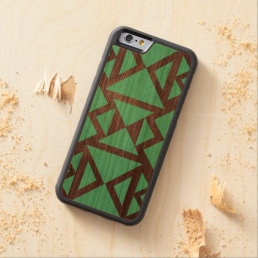 Geometric aztec wood pattern carved cherry iPhone 6 bumper case