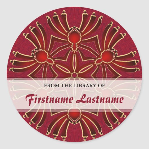Geometric Azteck Spiderz : Red Gold Bookplate Stic Stickers