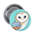Geometric Barn Owl 2 Inch Round Button