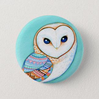 Geometric Barn Owl Button