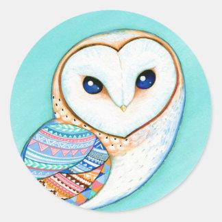 Geometric Barn Owl Classic Round Sticker