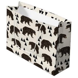Geometric Bear Cream Geo Woodland / Andrea Lauren Large Gift Bag
