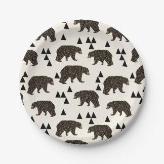 Geometric Bear Cream Geo Woodland / Andrea Lauren Paper Plate