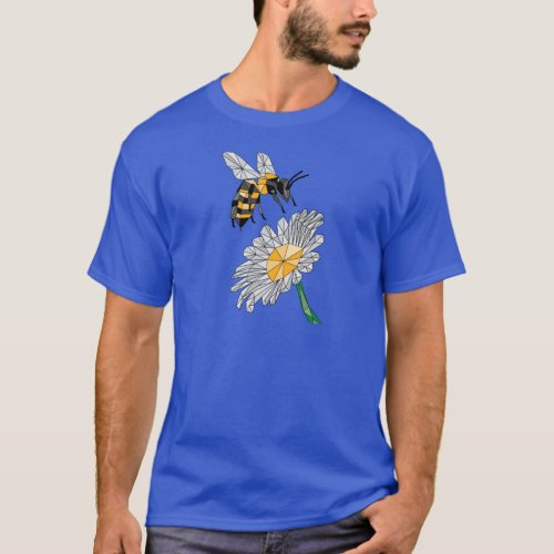 Geometric Bee & Flower T-Shirt