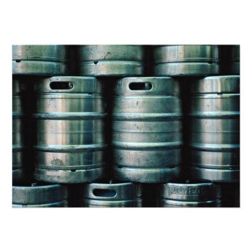 Geometric beer barrels, Czech Republic Custom Invite