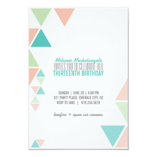 GEOMETRIC Birthday Party Invitation MINT PEACH