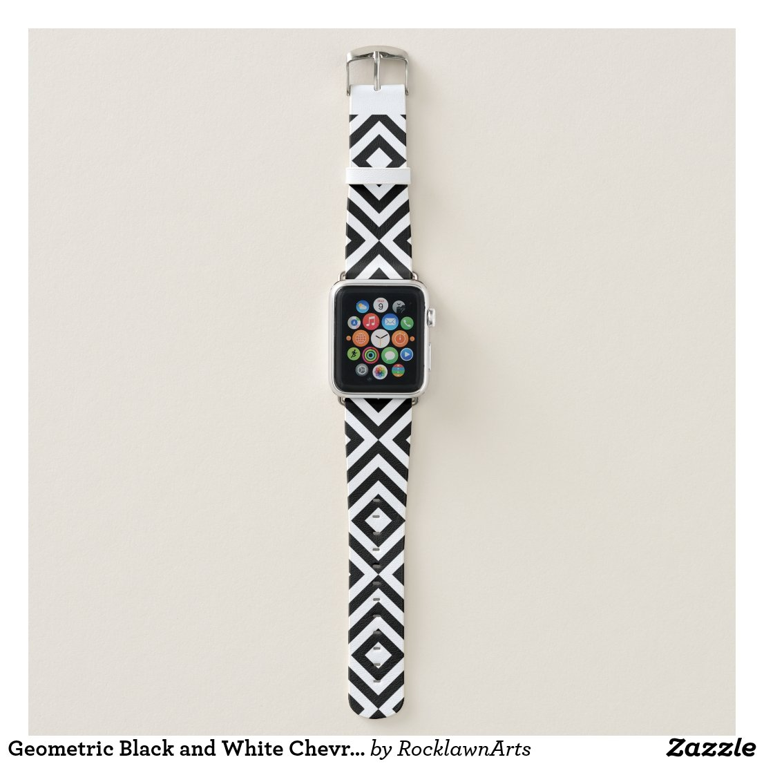 Geometric Black and White Chevrons, Diamonds Apple Watch Band