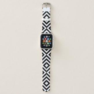 Geometric Black and White Chevrons, Diamonds Apple Watch Band