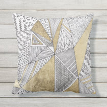 Geometric black and white chic faux gold patterns throw pillow
