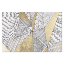 Geometric black and white chic faux gold patterns tissue paper
