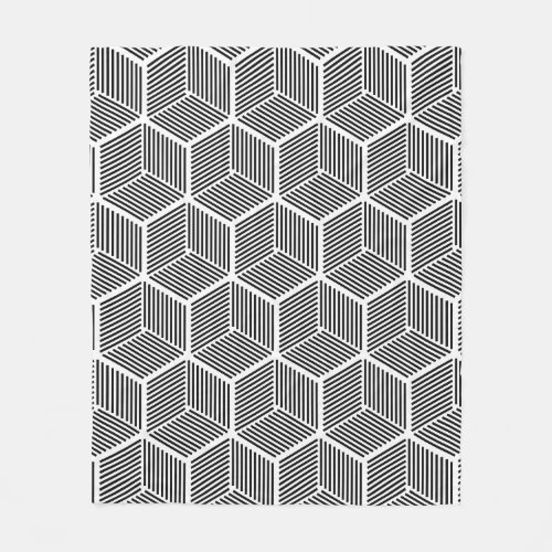 Geometric Black and White Fleece Blanket