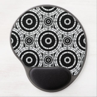 Geometric black and white gel mouse pad