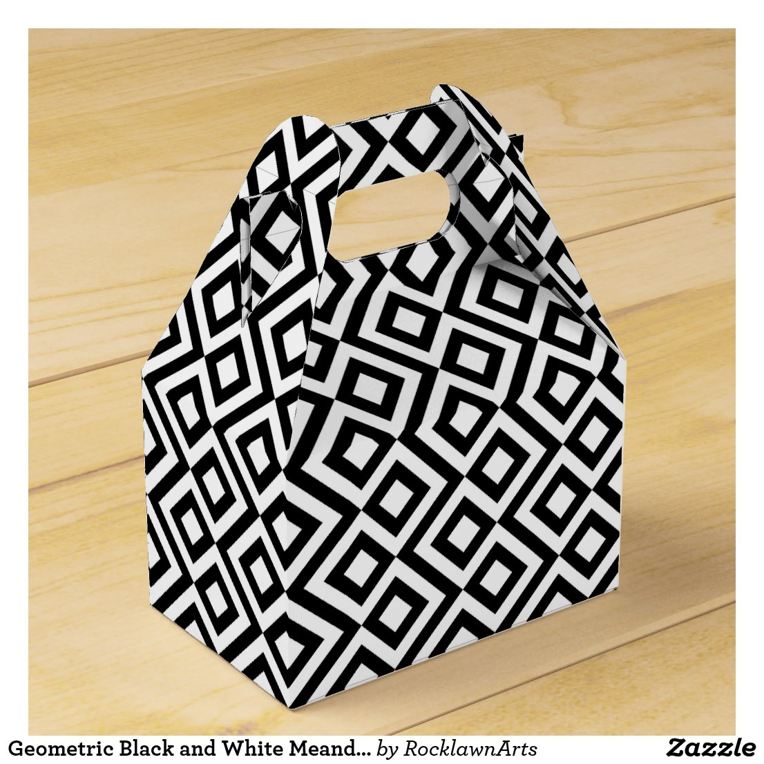 Geometric Black and White Meander Favor Box