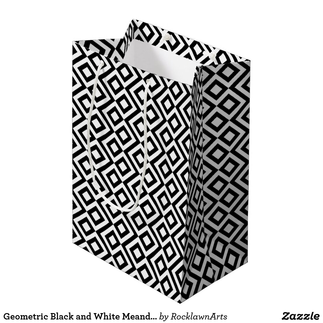 Geometric Black and White Meander Gift Bag