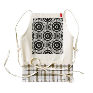 Geometric black and white zazzle HEART apron
