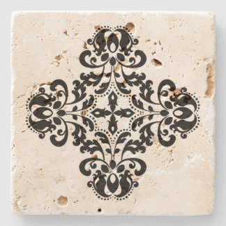 Geometric black damask design stone coaster