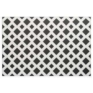 Geometric Black Diamonds on White Fabric