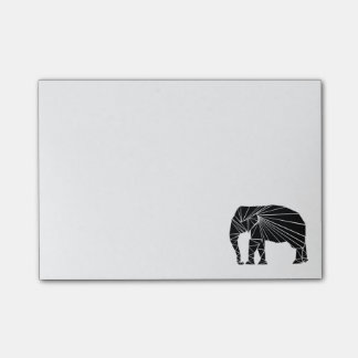 Geometric black elephant post-it notes