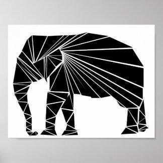 Geometric black elephant poster