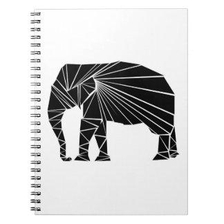 Geometric black elephant spiral notebook