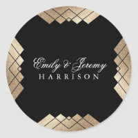 Geometric Black Gold Gatsby Wedding Classic Round Sticker