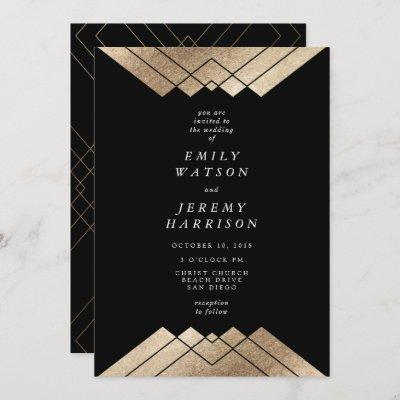 Geometric Black Gold Gatsby Wedding Invitation