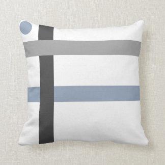 Geometric Black Gray Blue White Bars Throw Pillow
