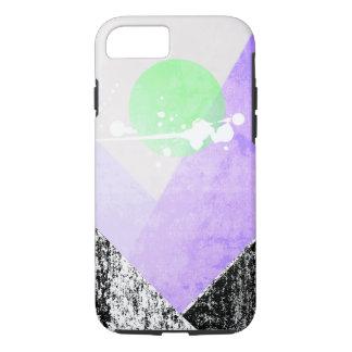 Geometric Black Purple Mountains Design Quilt Art iPhone 8/7 Case