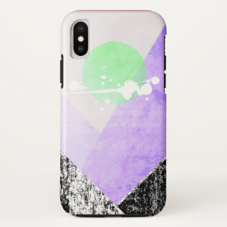 Geometric Black Purple Mountains Design Quilt Art iPhone X Case