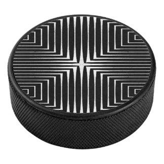 Geometric Black & White Abstract Design Hockey Puck