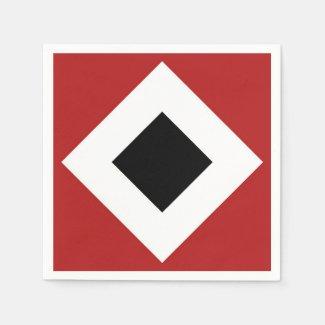 Geometric Black White Diamonds on Red Pattern Napkin