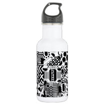 Geometric Black & White Modern Pattern Patchwork Water Bottle