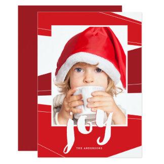 Geometric Block   Red Joy Photo Card
