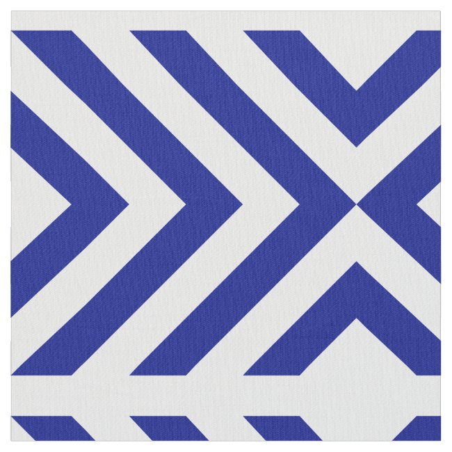 Geometric Blue and White Chevrons and Diamonds