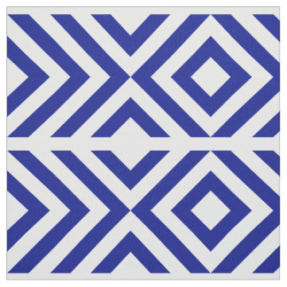 Geometric Blue and White Chevrons and Diamonds Fabric