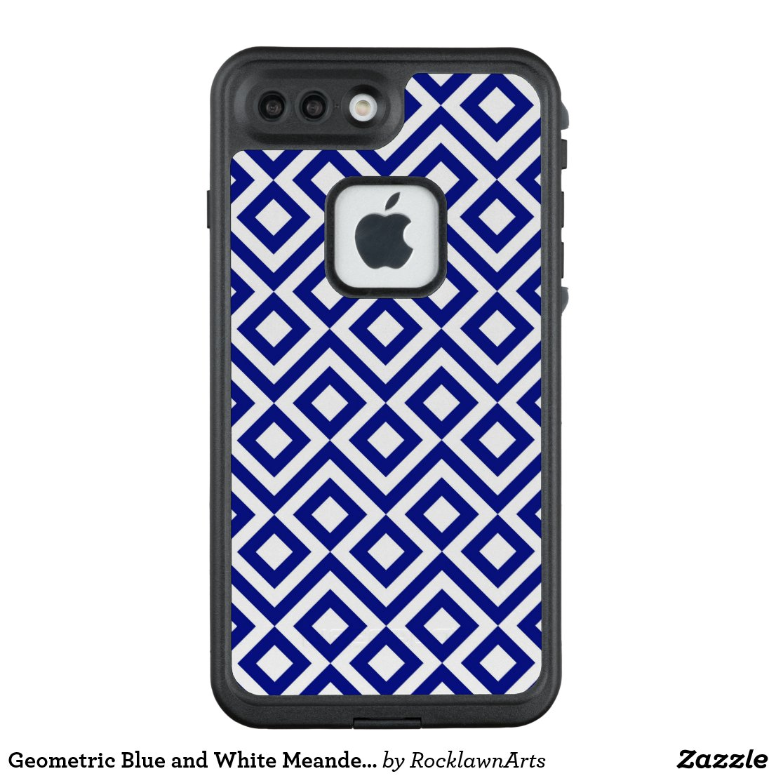 Geometric Blue and White Meander Pattern LifeProof® FRĒ® iPhone 7 Plus Case
