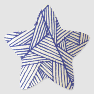 Geometric Blue Lines Pattern Star Sticker