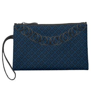 Geometric Blue Luxury Baguette Black Chain Suede Wristlet