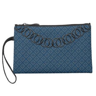 Geometric Blue Luxury Baguette Gray Black Chain Suede Wristlet