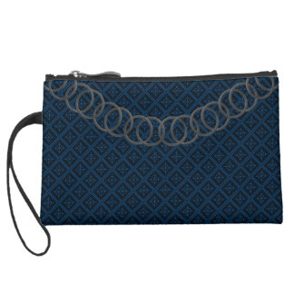 Geometric Blue Luxury Baguette Pewter Chain Suede Wristlet Wallet
