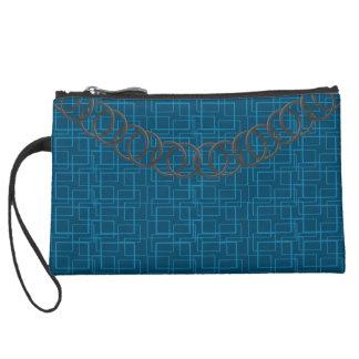 Geometric Blue Luxury Baguette Teal Pewter Chain Suede Wristlet Wallet