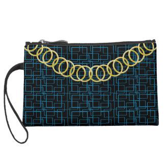 Geometric Blue Luxury Sueded Baguette Black Suede Wristlet Wallet