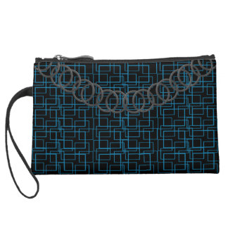 Geometric Blue Luxury Sueded Baguette Pewter Chain Suede Wristlet